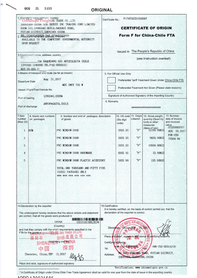 Certificate Of Origin Form F For China Chile Fta